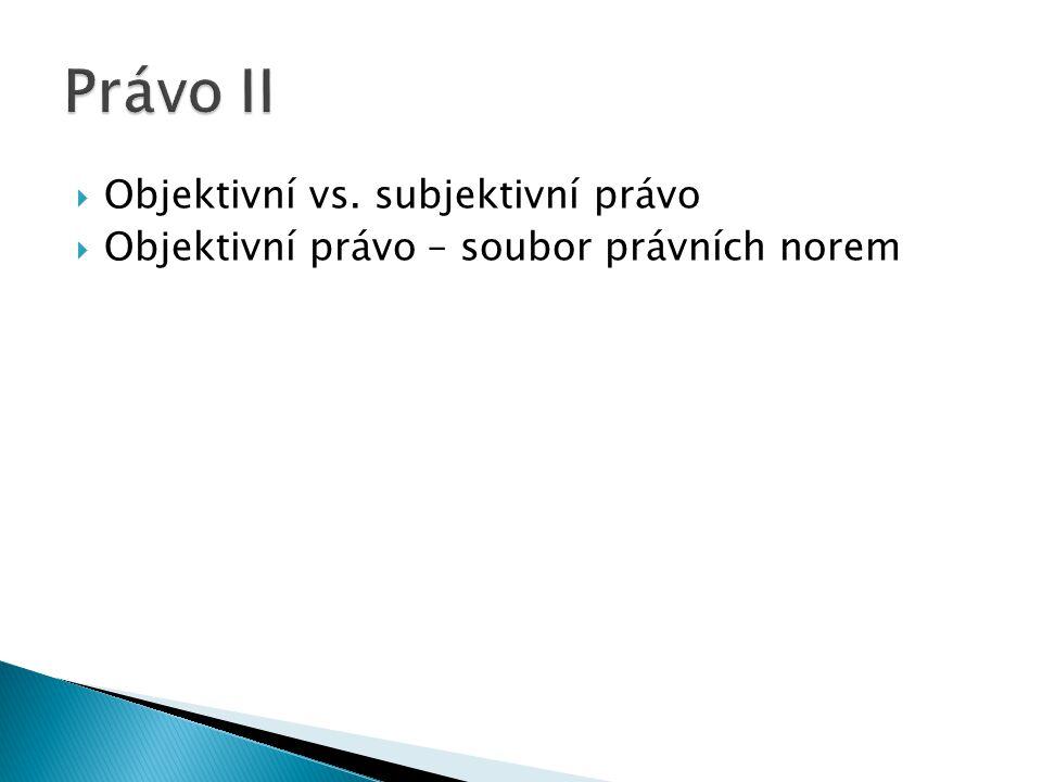 Právo II Objektivní vs. subjektivní právo
