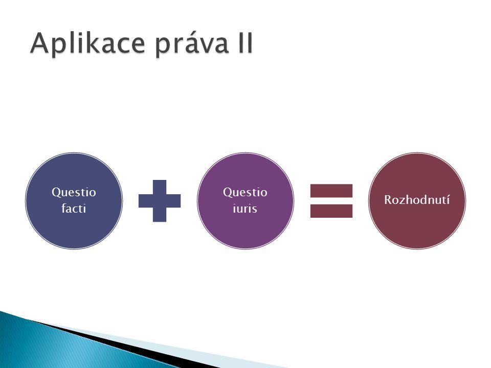 Aplikace práva II Questio facti Questio iuris Rozhodnutí