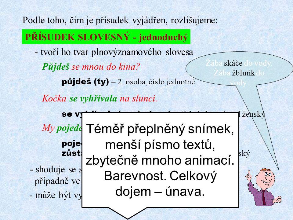 Téměř přeplněný snímek, menší písmo textů, zbytečně mnoho animací.