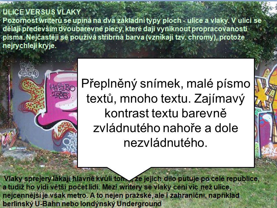 Přeplněný snímek, malé písmo textů, mnoho textu