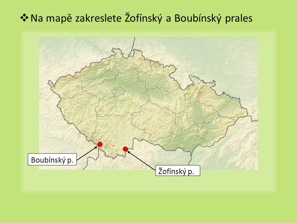 Na mapě zakreslete Žofínský a Boubínský prales