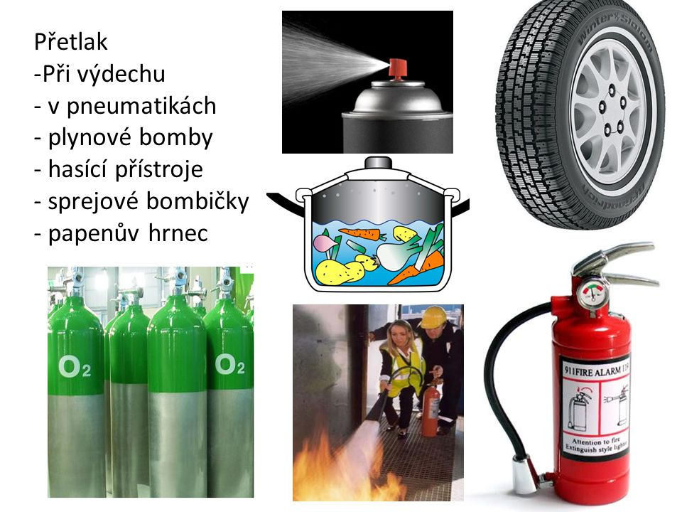Přetlak Při výdechu v pneumatikách plynové bomby hasící přístroje sprejové bombičky papenův hrnec