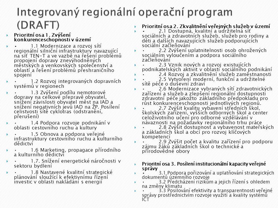 Integrovaný regionální operační program (DRAFT)