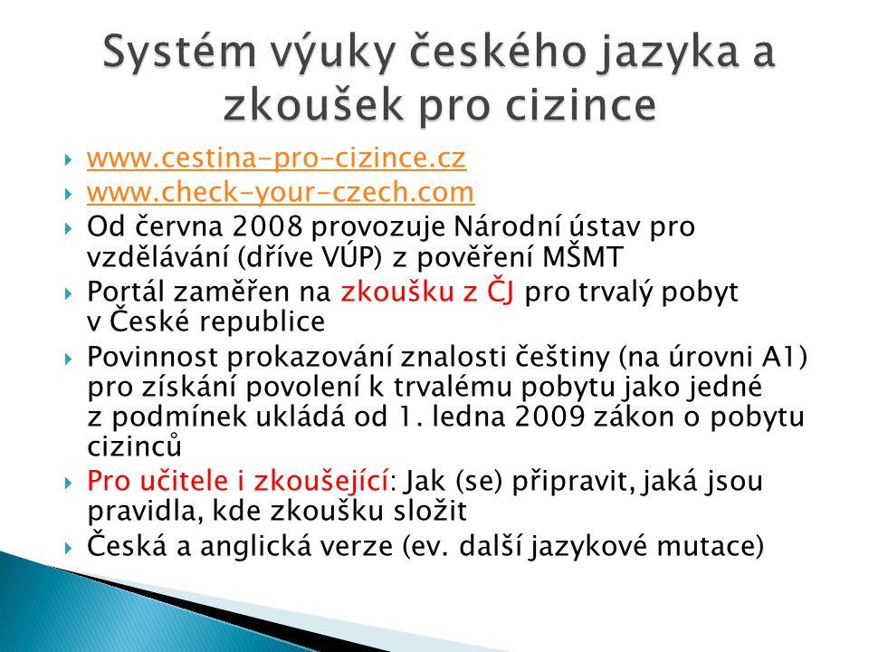 Systém výuky českého jazyka a zkoušek pro cizince