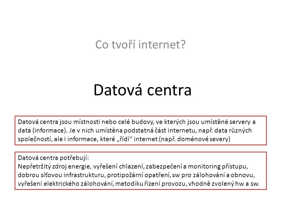 Datová centra Co tvoří internet