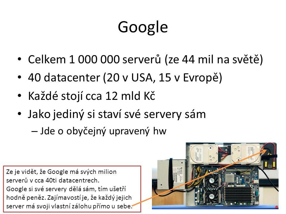 Google Celkem 1 000 000 serverů (ze 44 mil na světě)