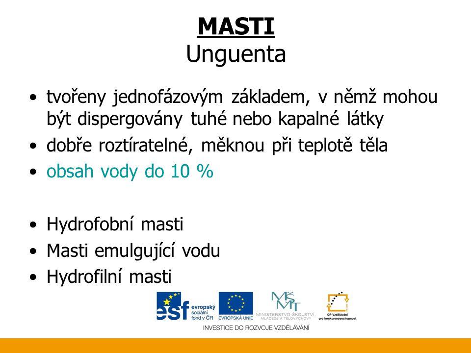MASTI Unguenta tvořeny jednofázovým základem, v němž mohou být dispergovány tuhé nebo kapalné látky.