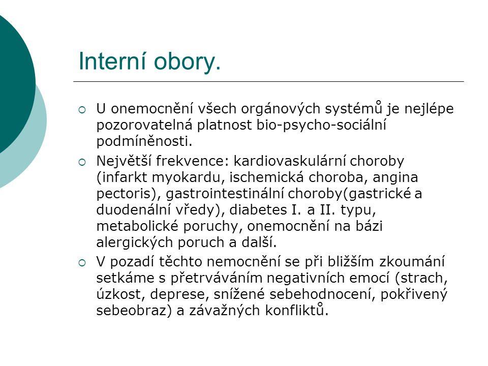 Interní obory. U onemocnění všech orgánových systémů je nejlépe pozorovatelná platnost bio-psycho-sociální podmíněnosti.