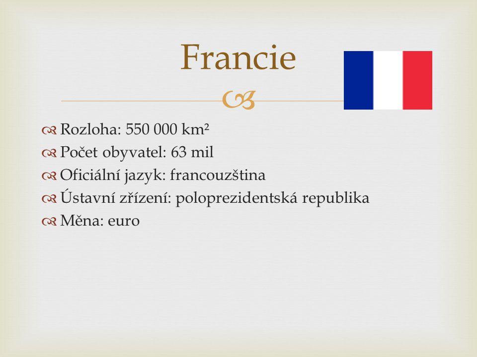Francie Rozloha: 550 000 km² Počet obyvatel: 63 mil