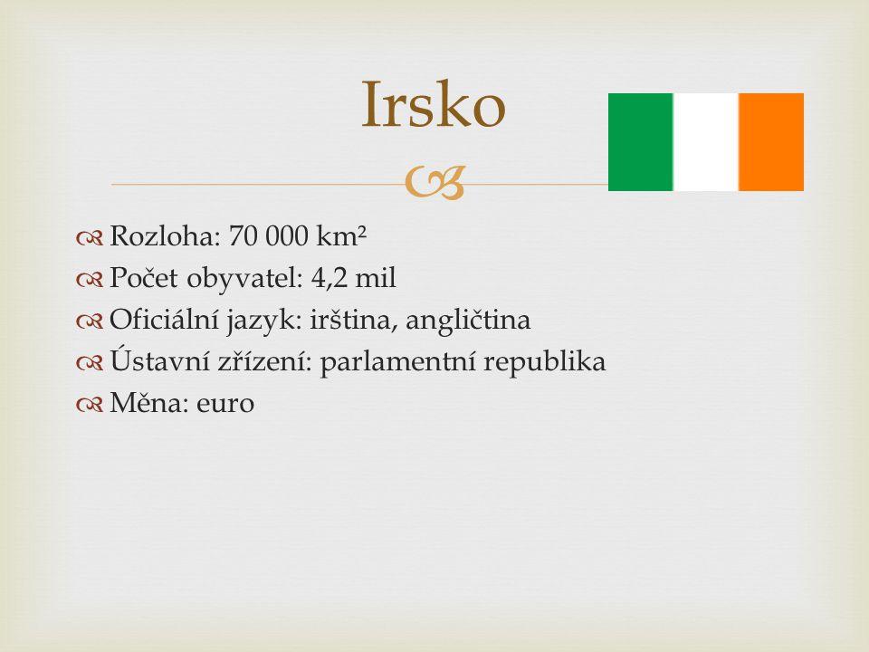Irsko Rozloha: 70 000 km² Počet obyvatel: 4,2 mil