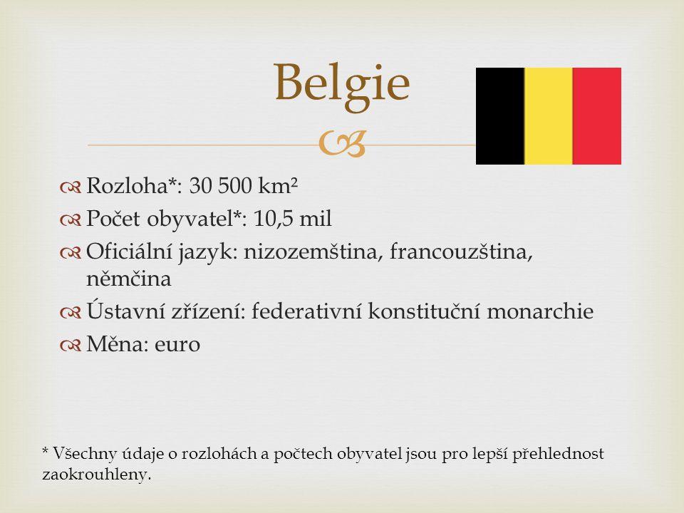 Belgie Rozloha*: 30 500 km² Počet obyvatel*: 10,5 mil