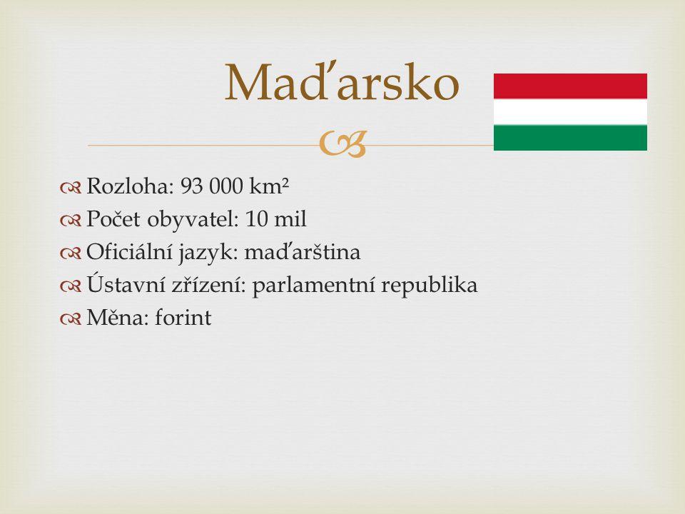 Maďarsko Rozloha: 93 000 km² Počet obyvatel: 10 mil