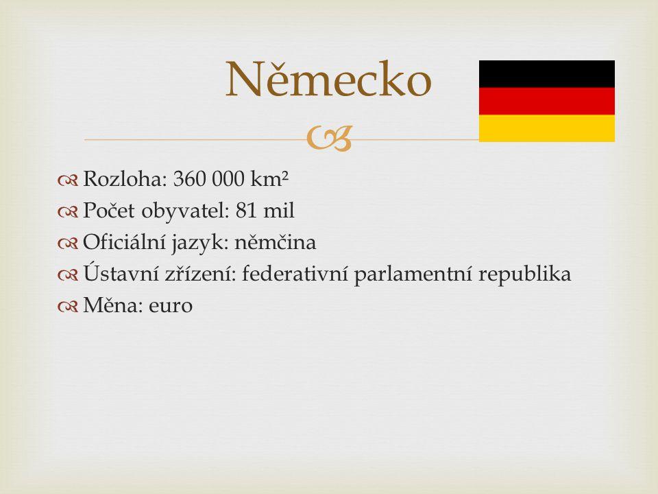 Německo Rozloha: 360 000 km² Počet obyvatel: 81 mil