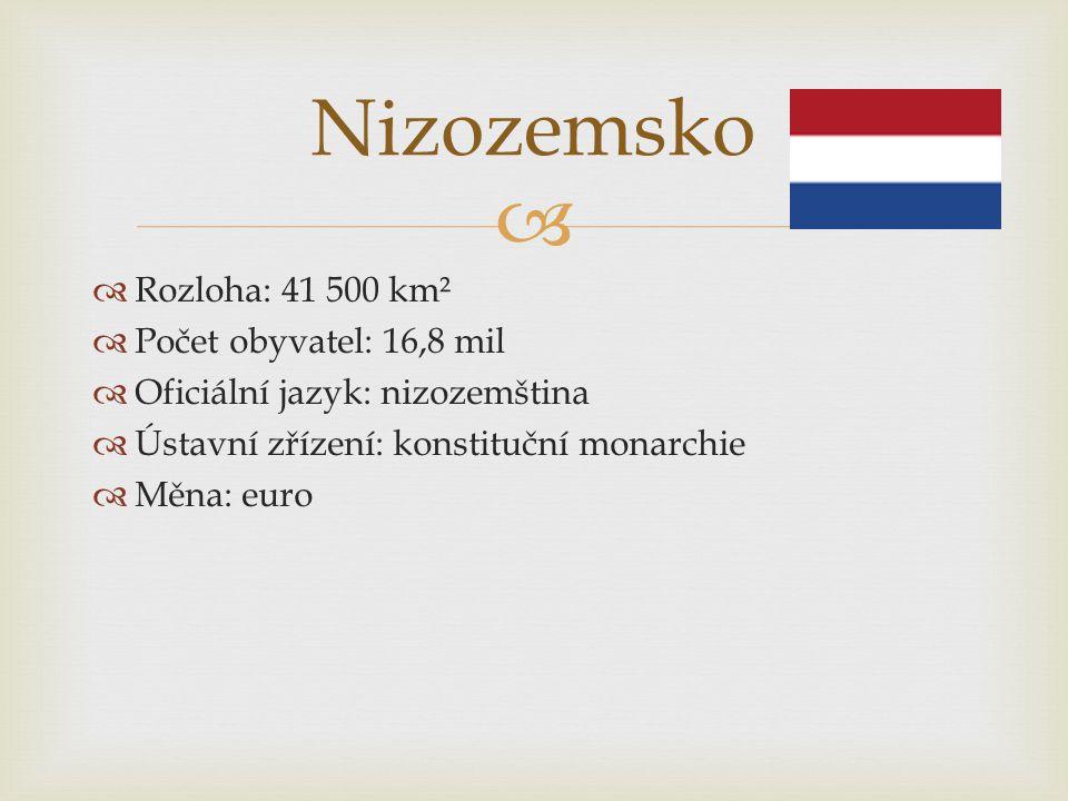 Nizozemsko Rozloha: 41 500 km² Počet obyvatel: 16,8 mil