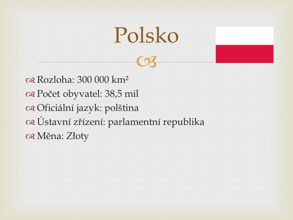 Polsko Rozloha: 300 000 km² Počet obyvatel: 38,5 mil