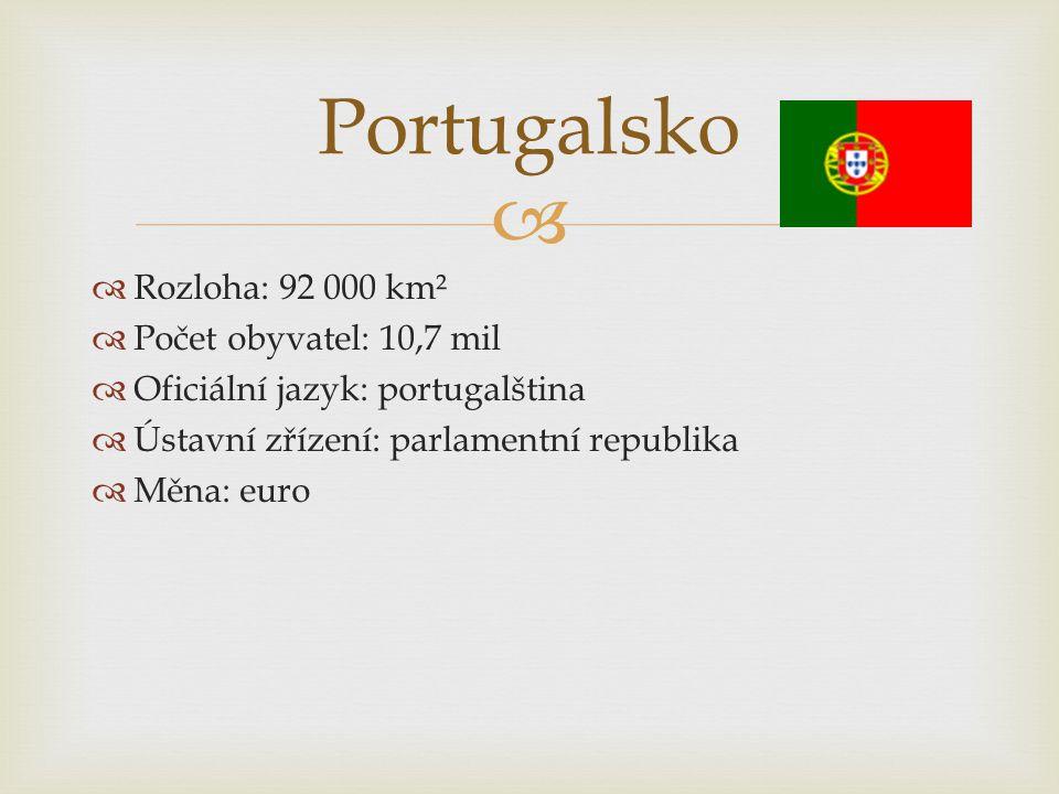 Portugalsko Rozloha: 92 000 km² Počet obyvatel: 10,7 mil