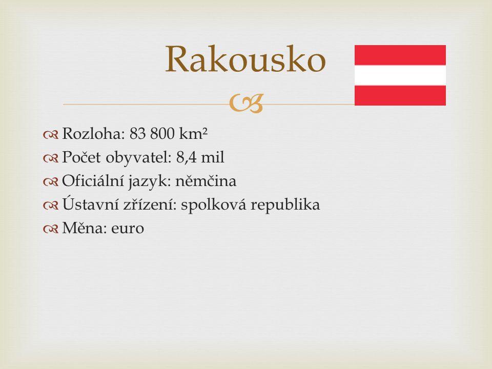 Rakousko Rozloha: 83 800 km² Počet obyvatel: 8,4 mil