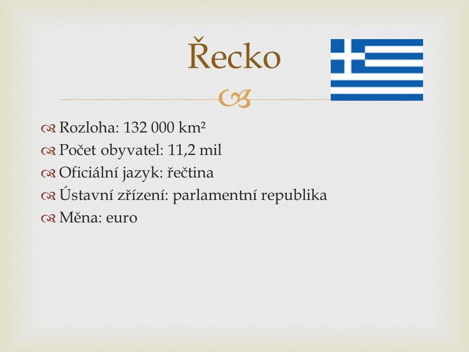 Řecko Rozloha: 132 000 km² Počet obyvatel: 11,2 mil