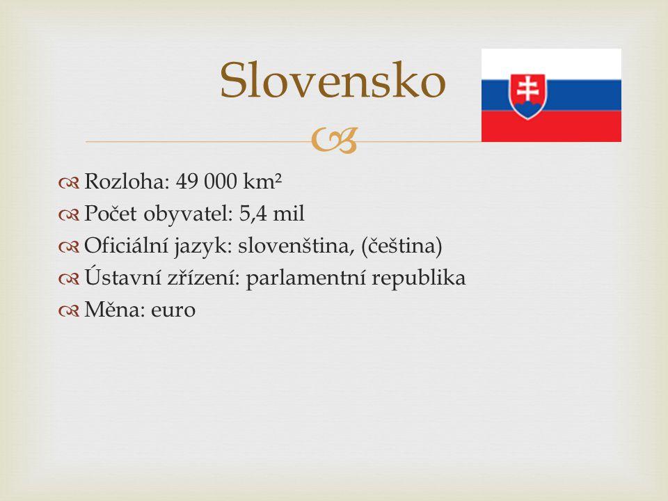 Slovensko Rozloha: 49 000 km² Počet obyvatel: 5,4 mil