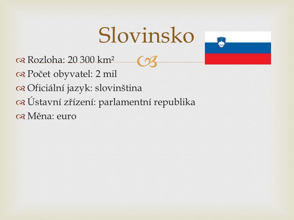 Slovinsko Rozloha: 20 300 km² Počet obyvatel: 2 mil