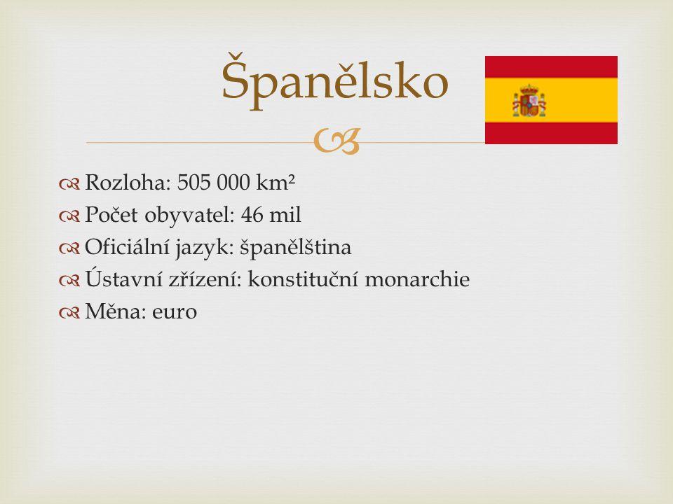 Španělsko Rozloha: 505 000 km² Počet obyvatel: 46 mil