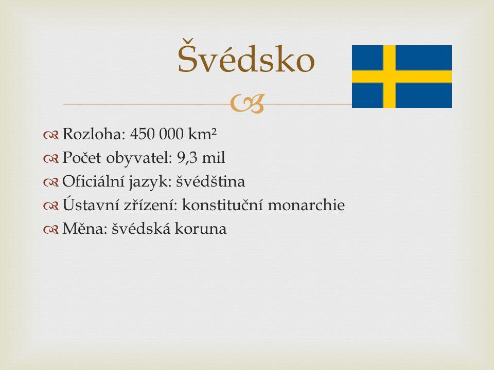Švédsko Rozloha: 450 000 km² Počet obyvatel: 9,3 mil