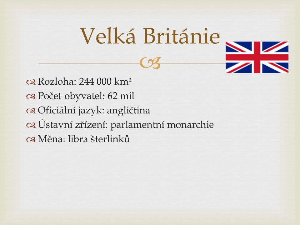 Velká Británie Rozloha: 244 000 km² Počet obyvatel: 62 mil