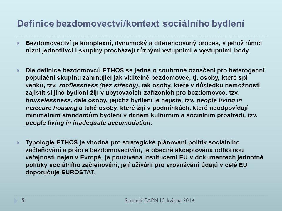 Definice bezdomovectví/kontext sociálního bydlení