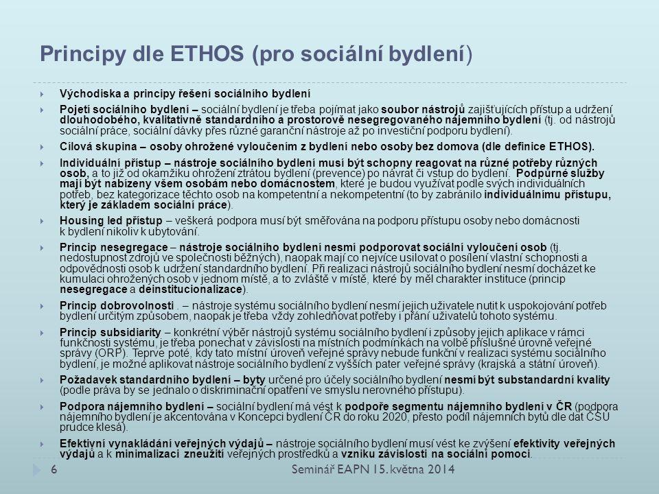 Principy dle ETHOS (pro sociální bydlení)