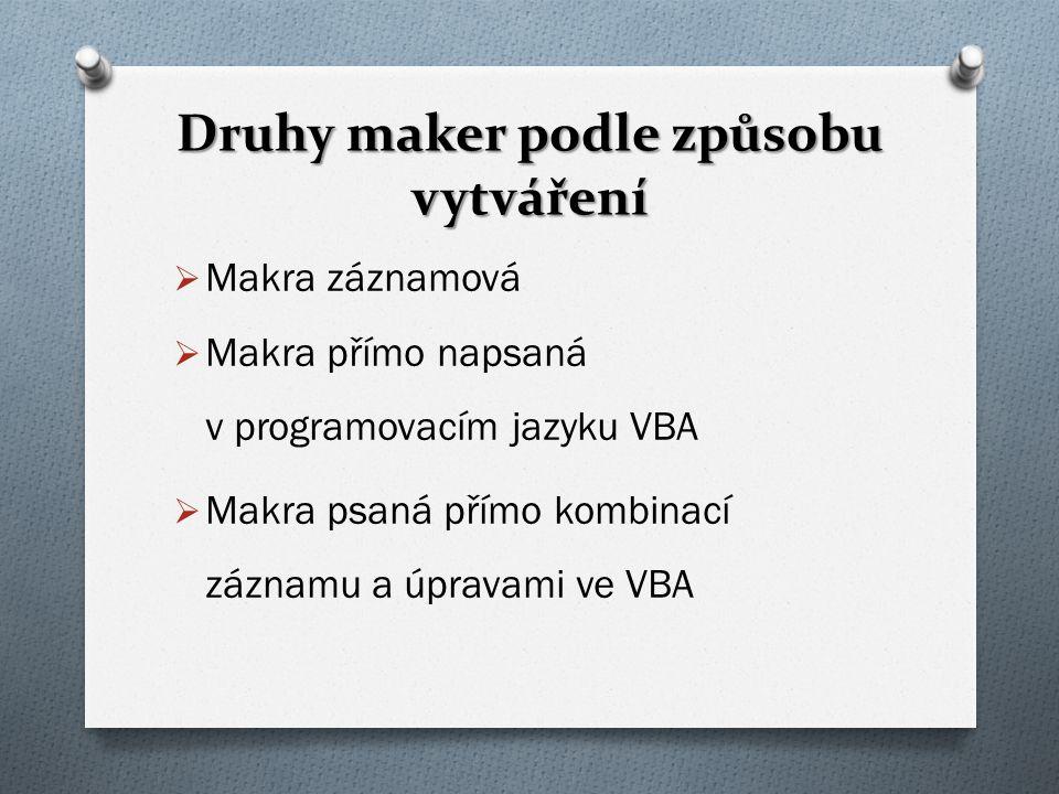 Druhy maker podle způsobu vytváření