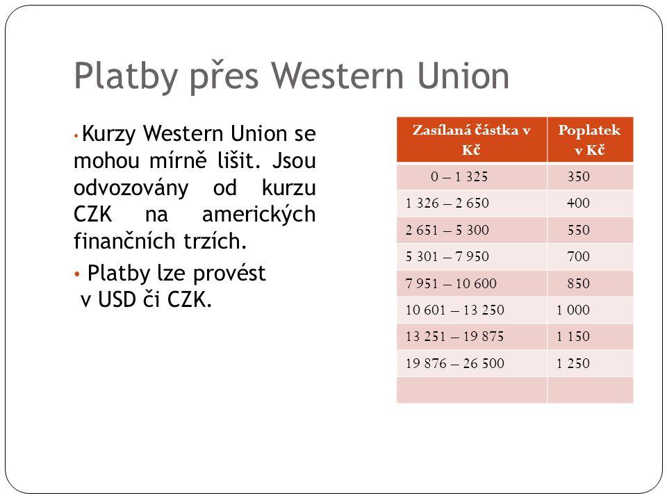 Platby přes Western Union