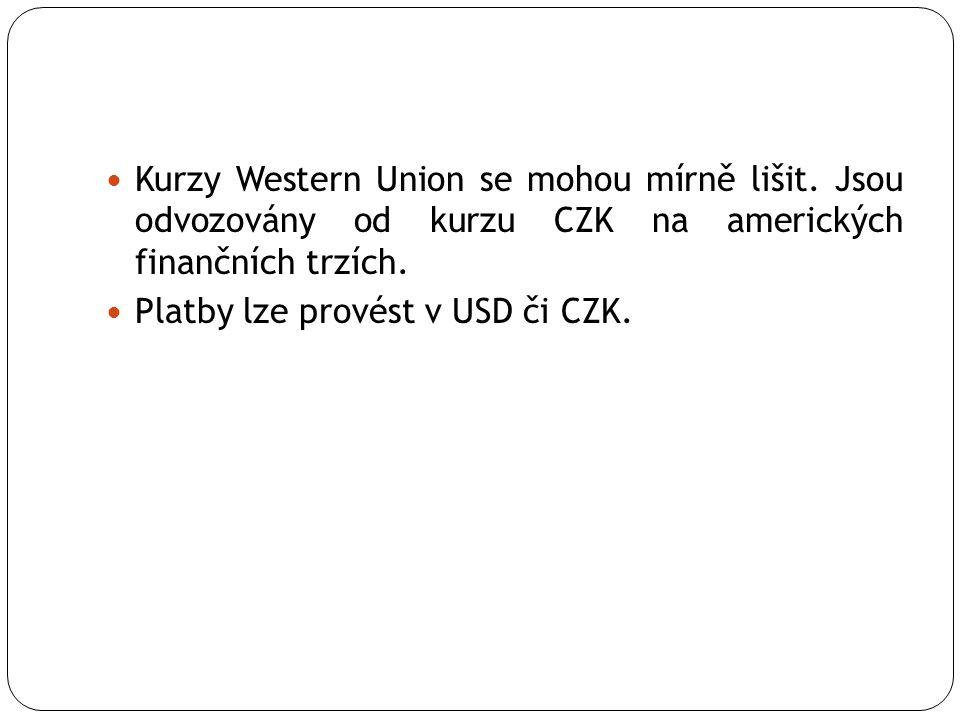 Kurzy Western Union se mohou mírně lišit