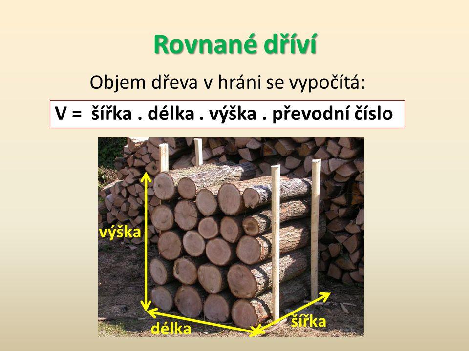 Rovnané dříví Objem dřeva v hráni se vypočítá: