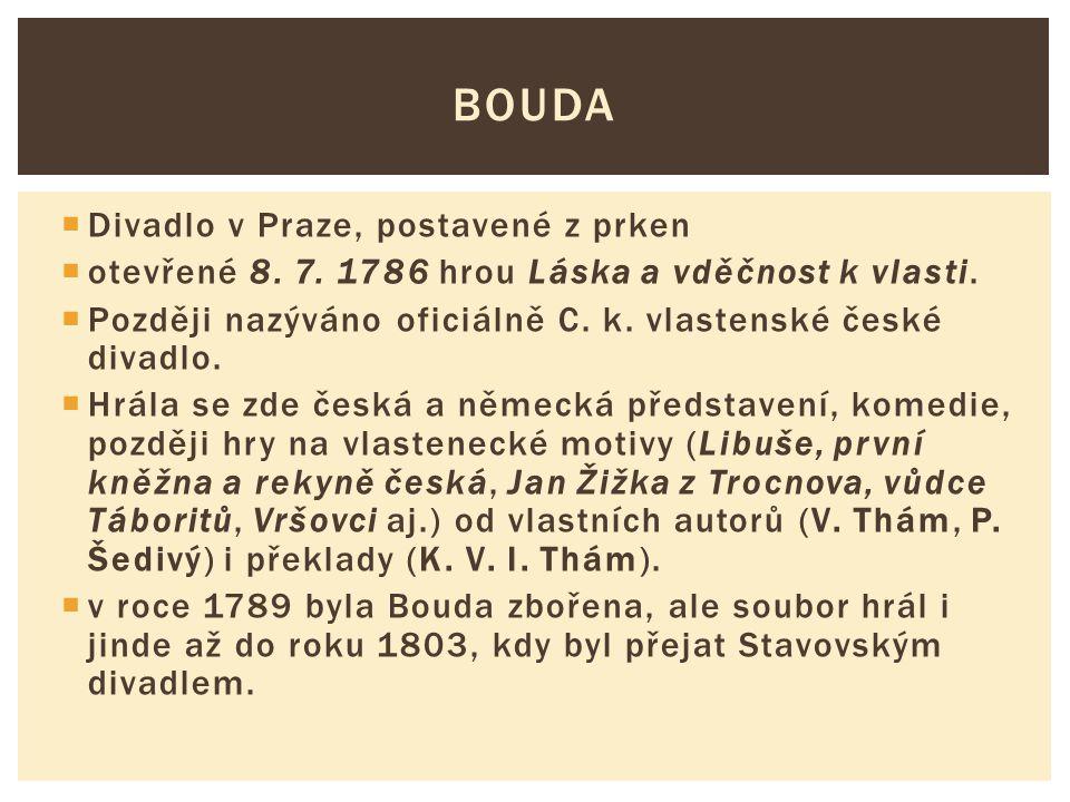 Bouda Divadlo v Praze, postavené z prken