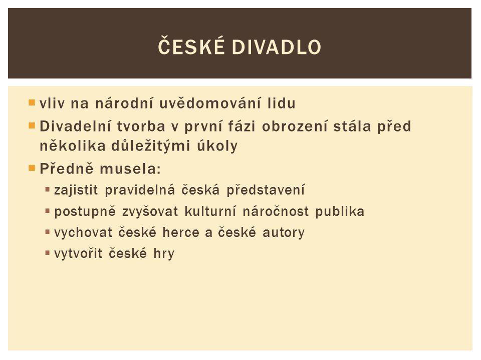 České divadlo vliv na národní uvědomování lidu
