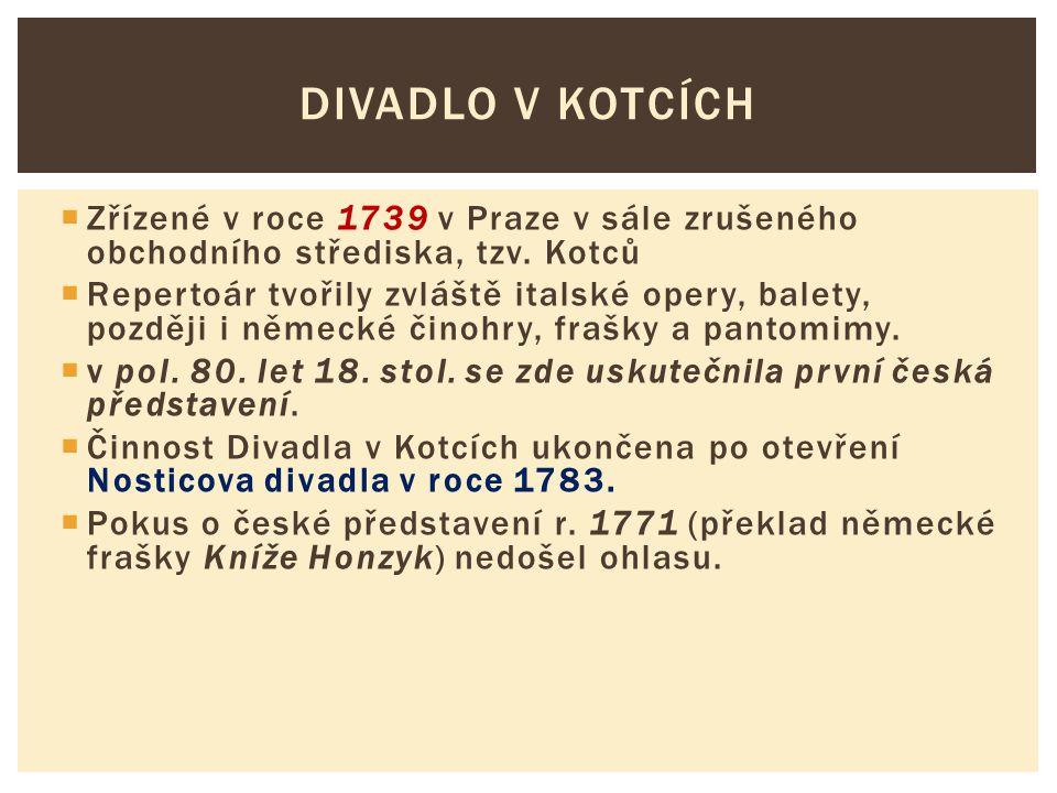 Divadlo v Kotcích Zřízené v roce 1739 v Praze v sále zrušeného obchodního střediska, tzv. Kotců.