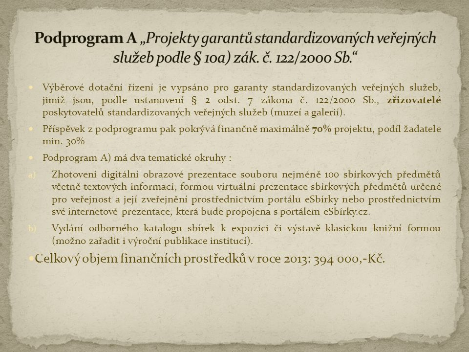 """Podprogram A """"Projekty garantů standardizovaných veřejných služeb podle § 10a) zák. č. 122/2000 Sb."""