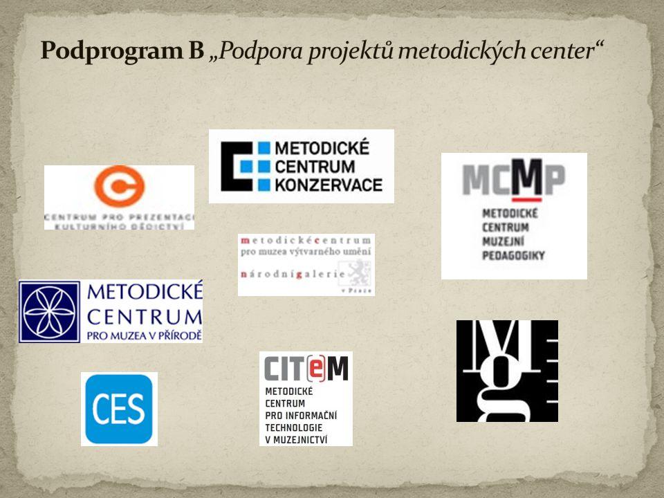 """Podprogram B """"Podpora projektů metodických center"""