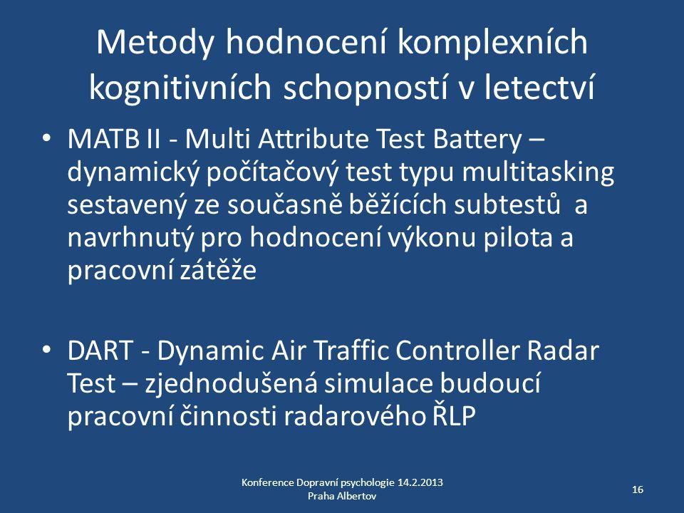 Metody hodnocení komplexních kognitivních schopností v letectví