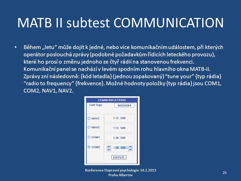 MATB II subtest COMMUNICATION