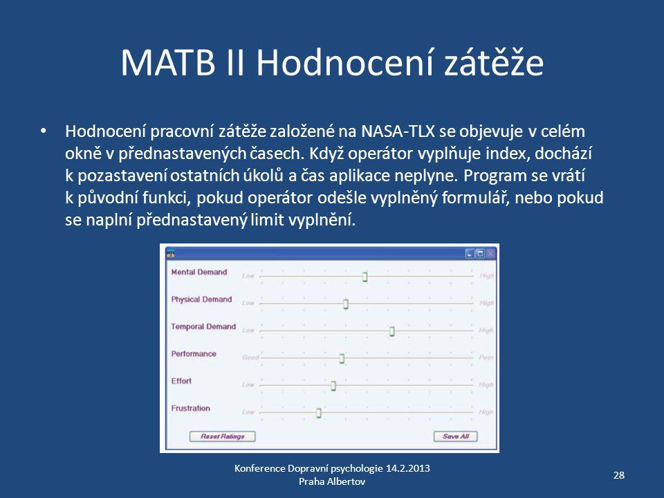 MATB II Hodnocení zátěže