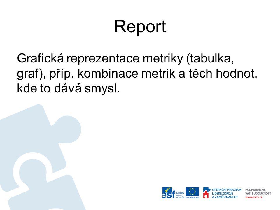 Report Grafická reprezentace metriky (tabulka, graf), příp.
