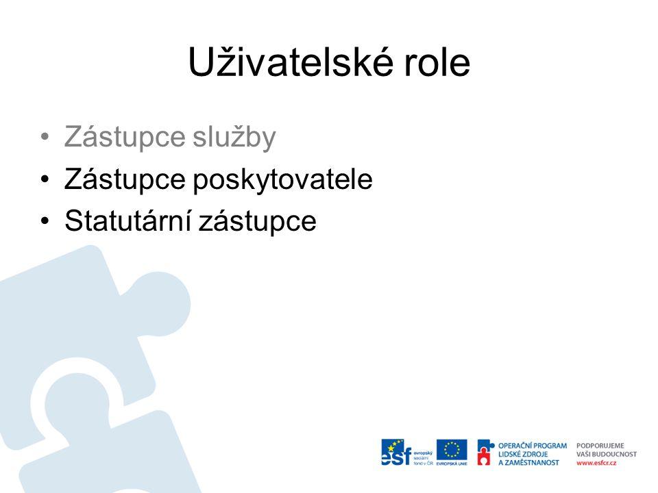 Uživatelské role Zástupce služby Zástupce poskytovatele