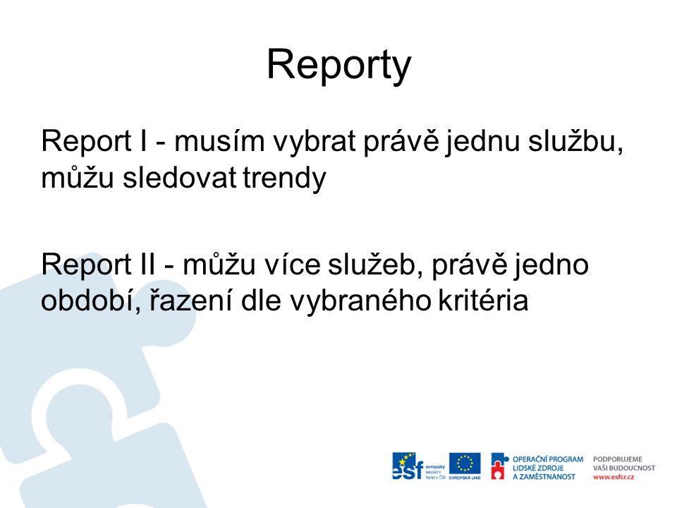 Reporty Report I - musím vybrat právě jednu službu, můžu sledovat trendy.