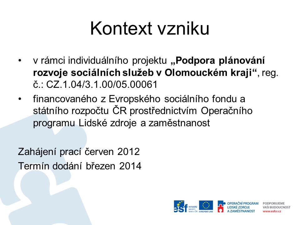 """Kontext vzniku v rámci individuálního projektu """"Podpora plánování rozvoje sociálních služeb v Olomouckém kraji , reg. č.: CZ.1.04/3.1.00/05.00061."""