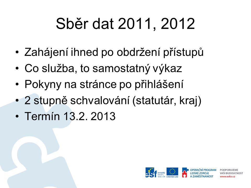 Sběr dat 2011, 2012 Zahájení ihned po obdržení přístupů
