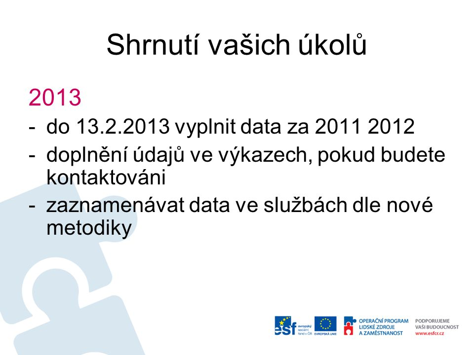 Shrnutí vašich úkolů 2013 do 13.2.2013 vyplnit data za 2011 2012