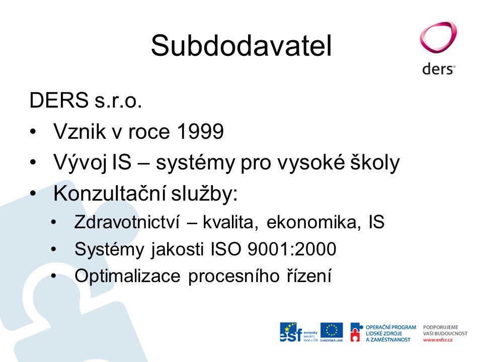Subdodavatel DERS s.r.o. Vznik v roce 1999