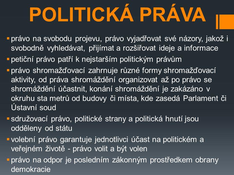 POLITICKÁ PRÁVA právo na svobodu projevu, právo vyjadřovat své názory, jakož i svobodně vyhledávat, přijímat a rozšiřovat ideje a informace.