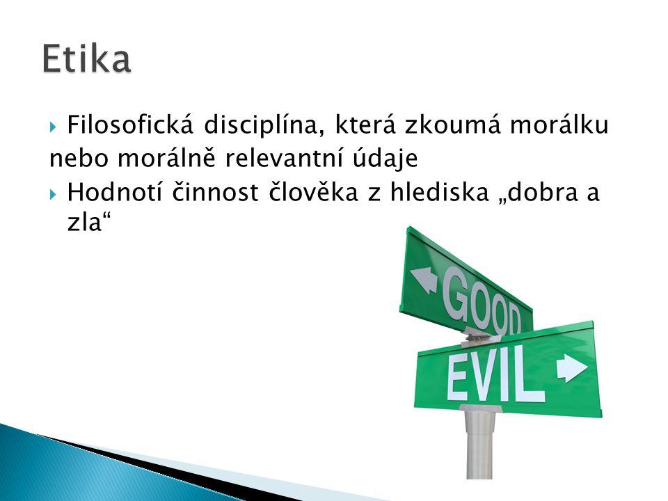 Etika Filosofická disciplína, která zkoumá morálku